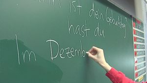 Opettaja kirjoittaa saksaksi liitutaululle.