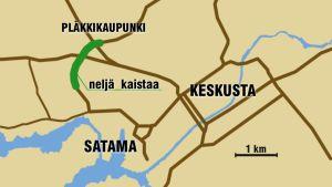 Kartta Suikkilantien kehittämisestä.