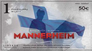 Mannerheim-elokuvan rahoittamiseen tarkoitettu 50 euron lippu, jonka kuvassa Mannerheimin silhuetti Suomen lippua vastaan.