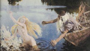 Veneessä istuva Väinämöinen tavoittelee käsillään vedestä nousevaa Ainoa.
