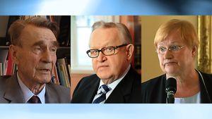 Presidentit Mauno Koivisto, Martti Ahtisaari ja Tarja Halonen.