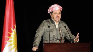 Massoud Barzani puhujanpöntössä