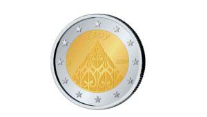 Kahden euron juhlaraha tekstillä 1809.
