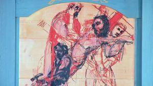 Yksityiskohta Kuutti Lavosen maalauksesta.