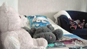 Pehmoleluja turvakodin sängyllä.