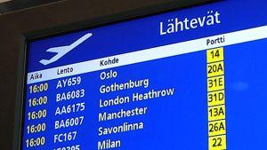 Infotaulu Helsinki-Vantaan lentoasemalla.