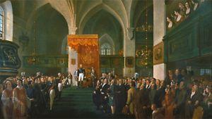 Keisari Aleksanteri I avaa Porvoon valtiopäivät 1809. Emanuel Thelningin maalaus.