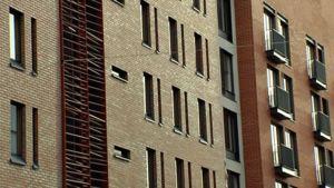 Kerrostalojen ikkunoita ja parvekkeita.