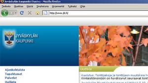 Jyväskylän kaupungin nettietusivu