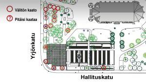 Kartta Keski-Porin kirkkopuiston kaadettavista puista.