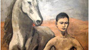 Yksityiskohta Picasson taulusta Poika johdattaa hevosta.