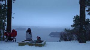 Talvisen sumuinen ja hämärä maisema järvenselälle.
