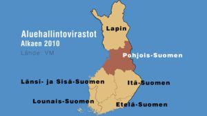 Kartta Suomen aluehallintovirastoista alkaen 2010.