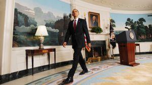 Presidentti Barack Obama diplomaattien vastaanottohuoneessa Valkoisessa talossa  12.11.2009.