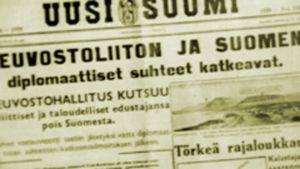 Sanomalehden etusivu viodelta 1939