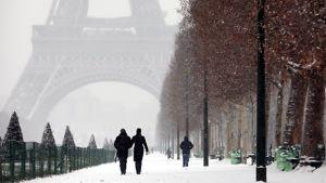 Ihmisiä kävelyllä Pariisin puistossa. Takana näkyy Eiffelin torni.