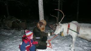 Rauna ja Miia Merkku Pekka-poron kanssa.