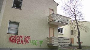 Graffitti Säynätsalon koulun seinässä