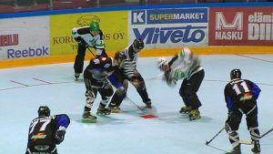 Pelaajia pelaamassa rullakiekkoa.