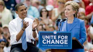 Barack Obama ja Hillary Clinton kampanjatilaisuudessa kesäkuussa 2008.