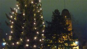 Joensuun kaupungintalo ja joulukuusi.