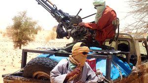 Ansar Dine -ryhmään kuuluvia islamistitaistelijoita Timbuktun lähistöllä 24. huhtikuuta 2012.