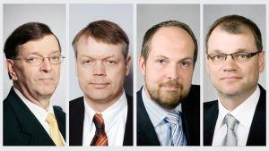 Keskustan puheenjohtajaehdokkaat Paavo Väyrynen, Timo Kaunisto, Tuomo Puumala ja Juha Sipilä.