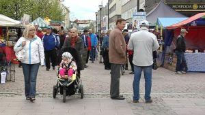 Ihmisiä Kajaanin Raatihuoneen torilla kalamarkkinoilla.