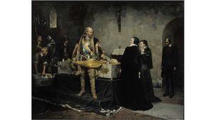 Albert Edelfeltin maalaus Kaarle-herttua herjaa Klaus Flemingin ruumista
