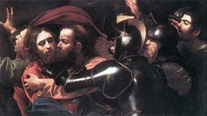 Osa Caravaggion 1600-luvulla maalaamasta teoksesta Juudaksen suudelma.