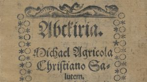 Yksityiskohta Mikael Agricolan Abckiriasta (1543).