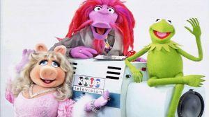 Miss Piggy, Clifford ja Kermit hymyilevät kameralle. Kermit istuu ison studiokameran objektiivin päällä.