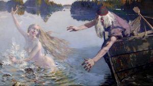 Yksityiskohta Akseli Gallen-Kallelan Aino-triptyykin keskimmäisestä osasta. Ilkkuva Aino hyppää veneestä ja pakenee. Väinämöinen harottelee käsiään.