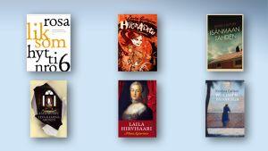 Finlandia-palkintoehdokkaiden kirjojen kannet.