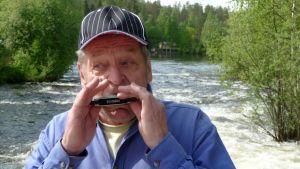 Aimo Kinnunen soittaa huuliharppua Kermankoskella