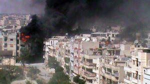Syyrian opposition julkaisema kuva Homsin kaupungista on otettu 8. kesäkuuta.