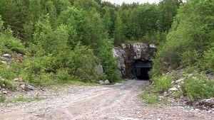 Sotkamon hopeakaivosen tunnelin suu.