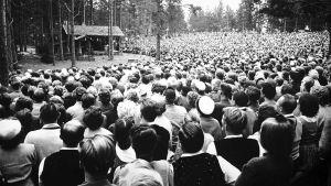 Täysi katsomo Kivi-juhlissa 50-luvulla