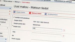 Verkkopankin uusi maksu -sivusto.
