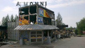 K-kauppa paloi täysin Leppävirralla.