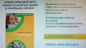 Opinto-opas Kuopion kansalaisopiston nettisivuilla