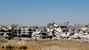 Homsin raunioitunutta kaupunkia.