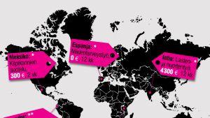 Grafiikka vapaaehtoistyön hinnoista eri puolilla maailmaa.