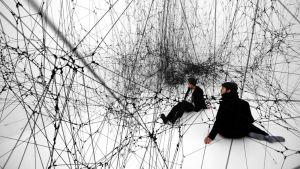 Kuva Tomás Saracenon 14 Billions -teoksesta, joka on16-kertaisesti suurennettu, köysistä solmittu mustan lesken verkko.
