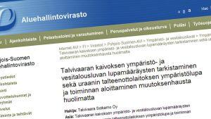 Talvivaaran lupa-asioihin voi antaa lausuntoja myös sähköisesti Pohjois-Suomen aluehallintoviraston sivuilla