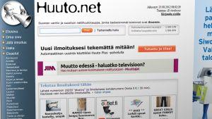 Huuto.net-sivuston etusivu.