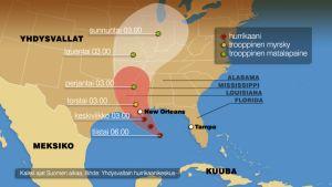 Havainnekartta Isaac-myrskyn ennustetusta etenemisestä.