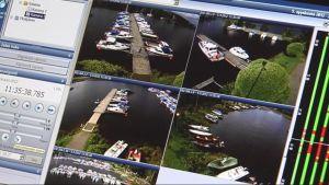 Venesataman valvontakameroiden monitori.