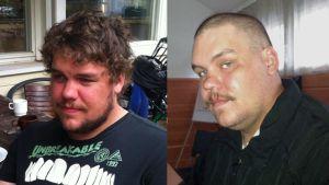 Kuva Teppo Suolasesta ennen ja jälkeen hiustenleikkuun
