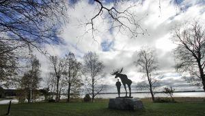 Sotkamolaisen kirjailijan Veikko Huovisen patsas Hirvensaaressa on Nina Ternon käsialaa.